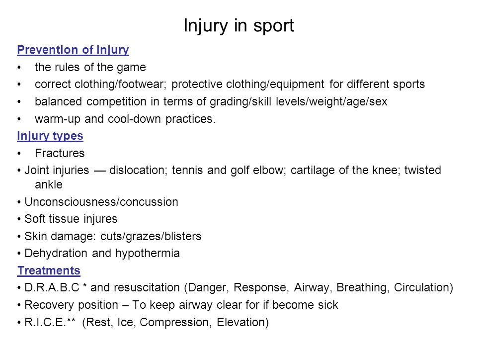 Injury in sport Prevention of Injury the rules of the game