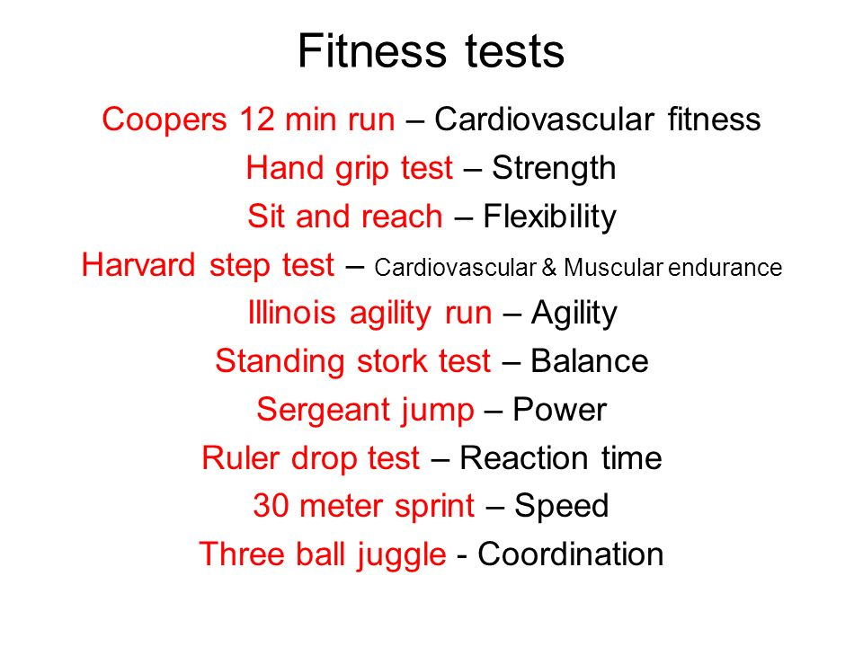Fitness tests Coopers 12 min run – Cardiovascular fitness