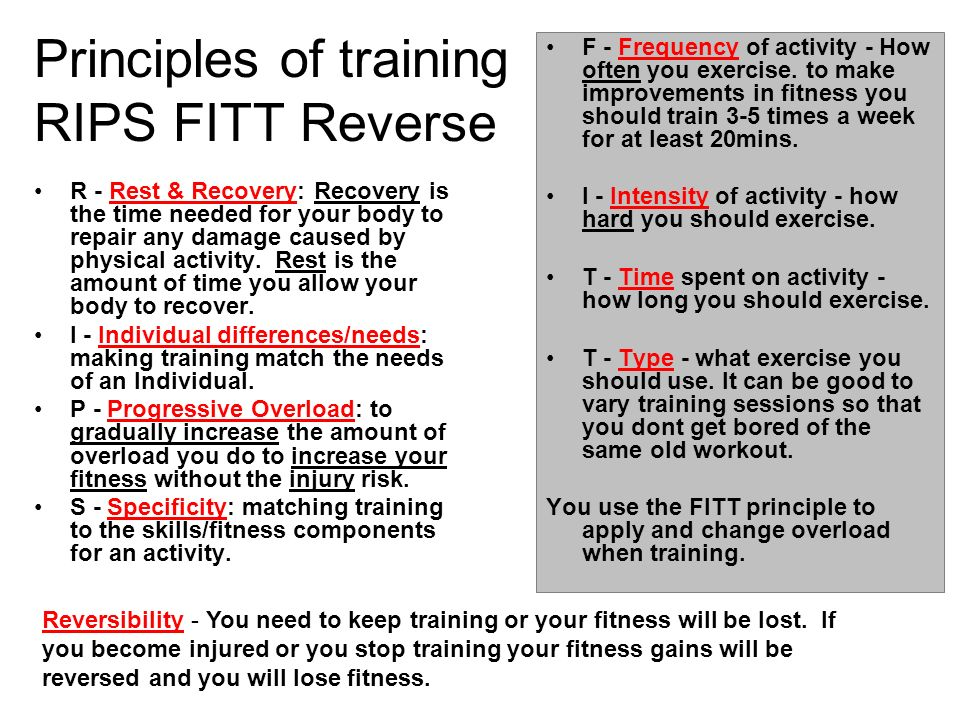 Principles of training RIPS FITT Reverse