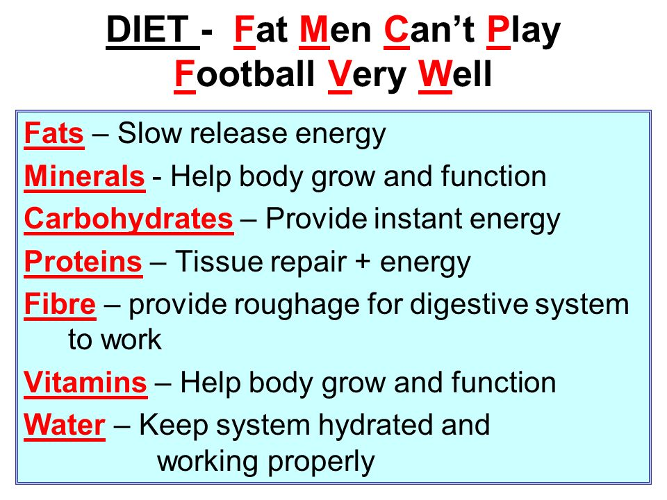 DIET - Fat Men Can't Play Football Very Well