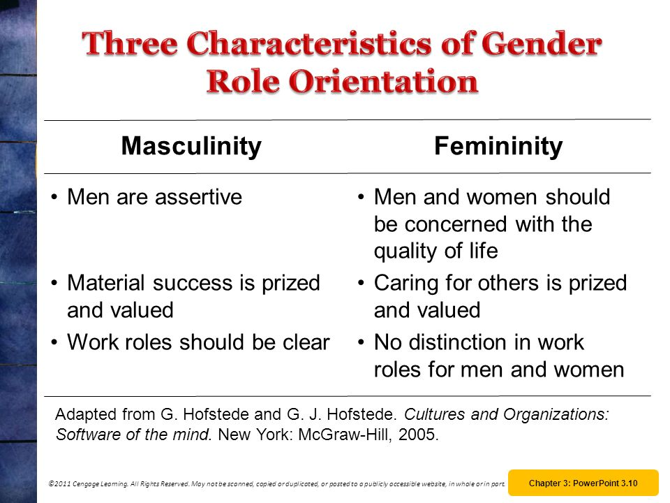 Three Characteristics of Gender Role Orientation