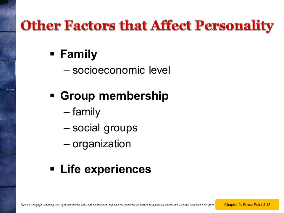 Other Factors that Affect Personality