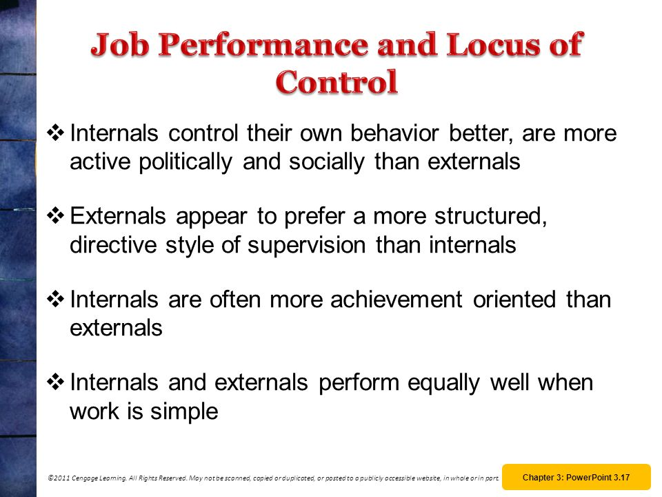 Job Performance and Locus of Control