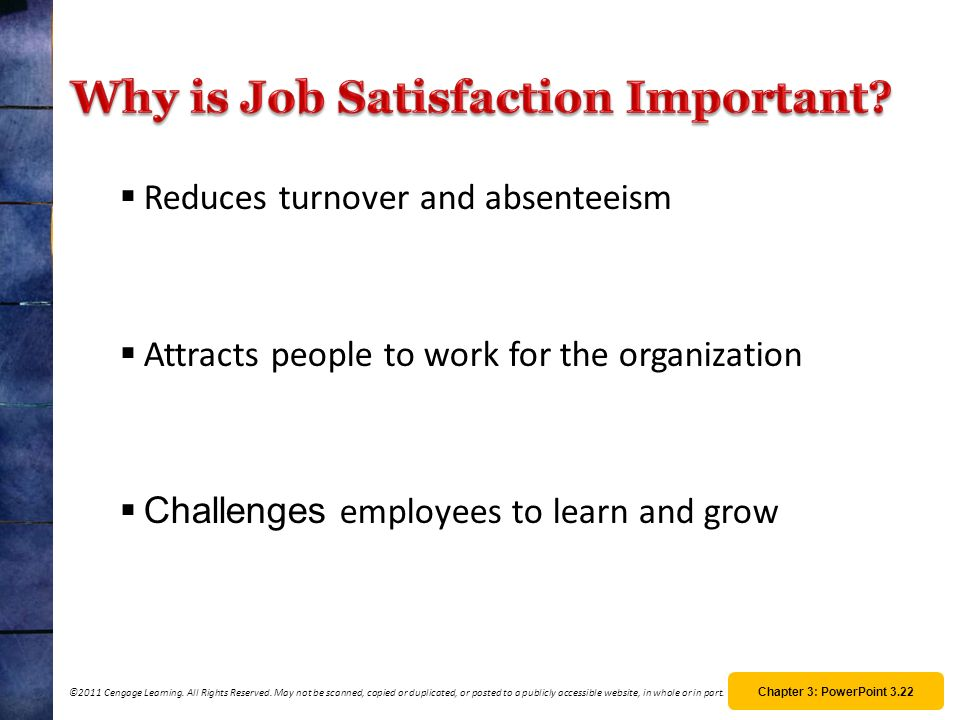 importance of job satisfaction Job satisfaction, and organizational commitment directly influence turnover intent, whereas gender, job satisfaction, role conflict, role ambiguity, role overload, input into decision making, and organizational fairness indirectly affected employees' decisions to leave the job.