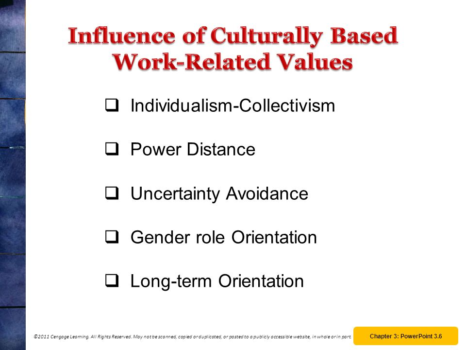 Influence of Culturally Based Work-Related Values