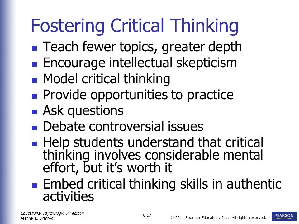 Fostering Critical Thinking