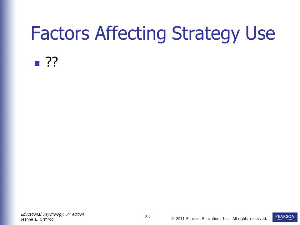 Factors Affecting Strategy Use