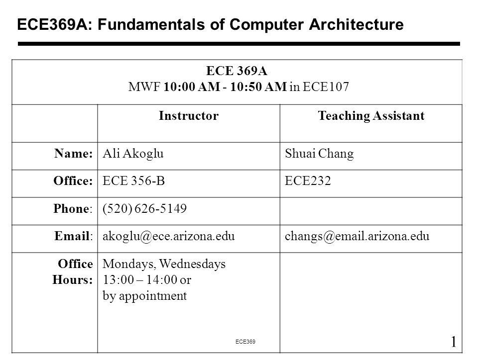ECE369A: Fundamentals of Computer Architecture