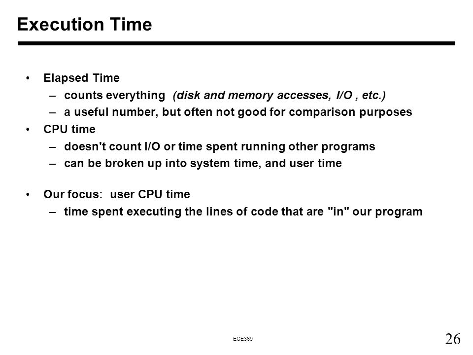Execution Time Elapsed Time