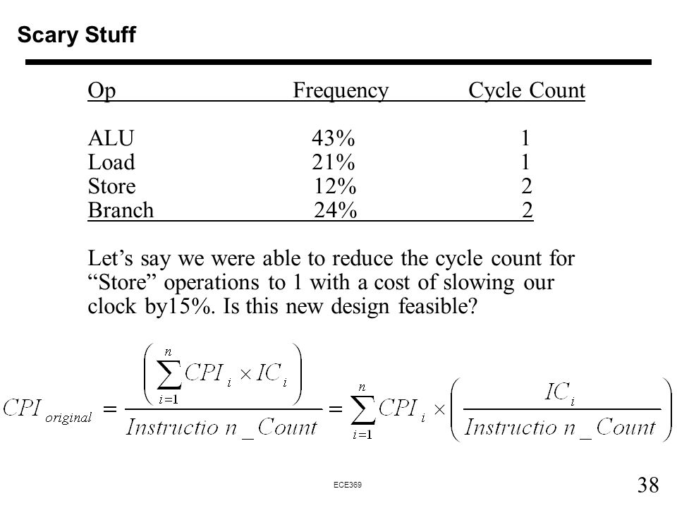 Op Frequency Cycle Count ALU 43% 1 Load 21% 1 Store 12% 2 Branch 24% 2