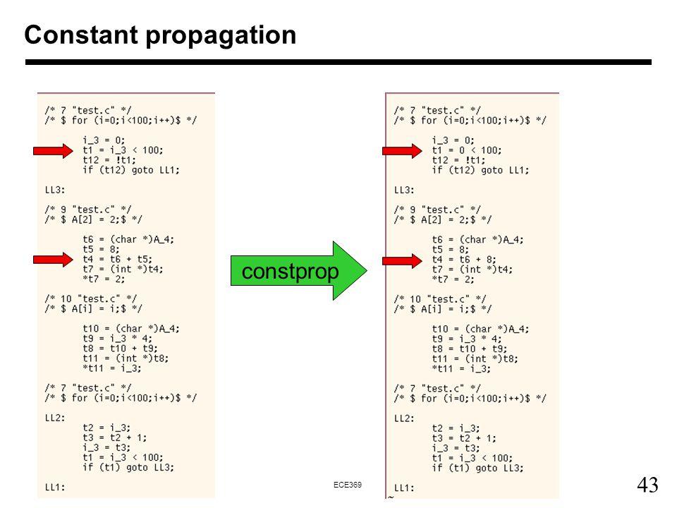 Constant propagation constprop
