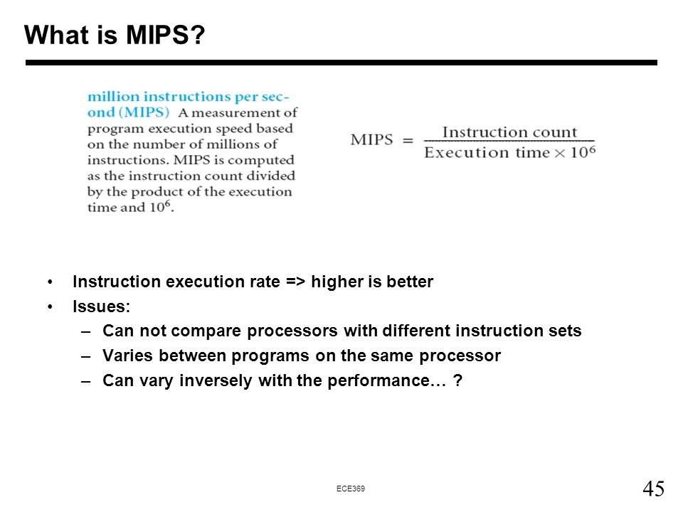 What is MIPS Instruction execution rate => higher is better
