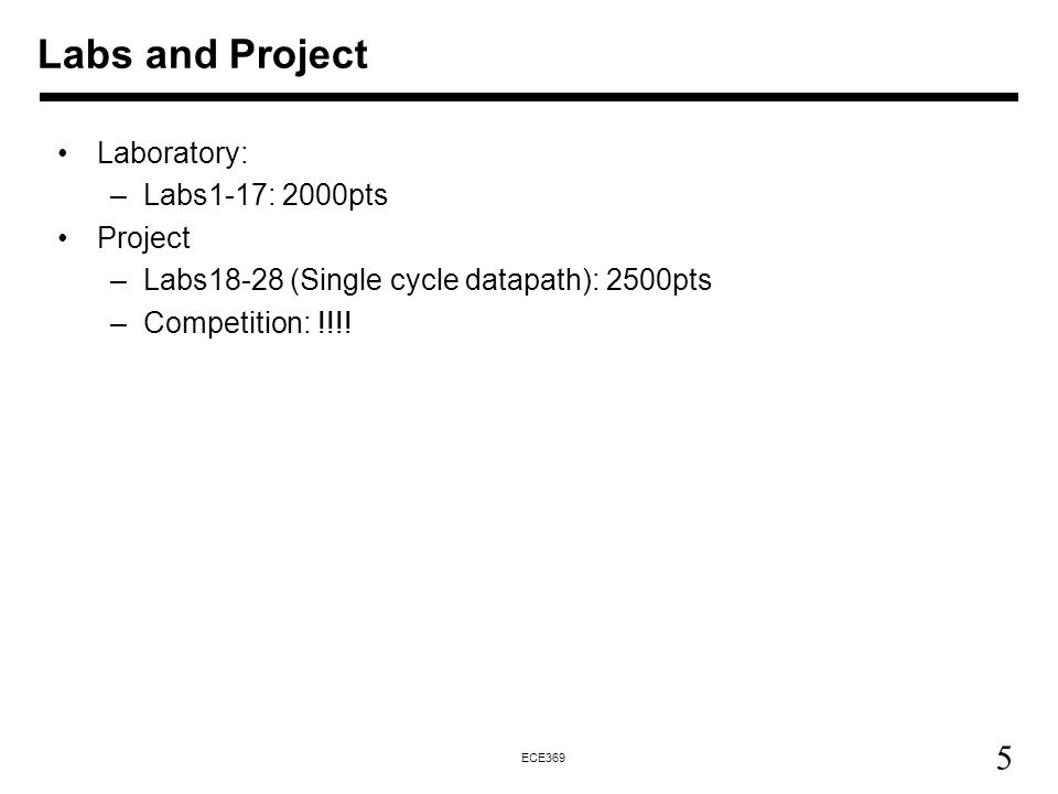 Labs and Project Laboratory: Labs1-17: 2000pts Project
