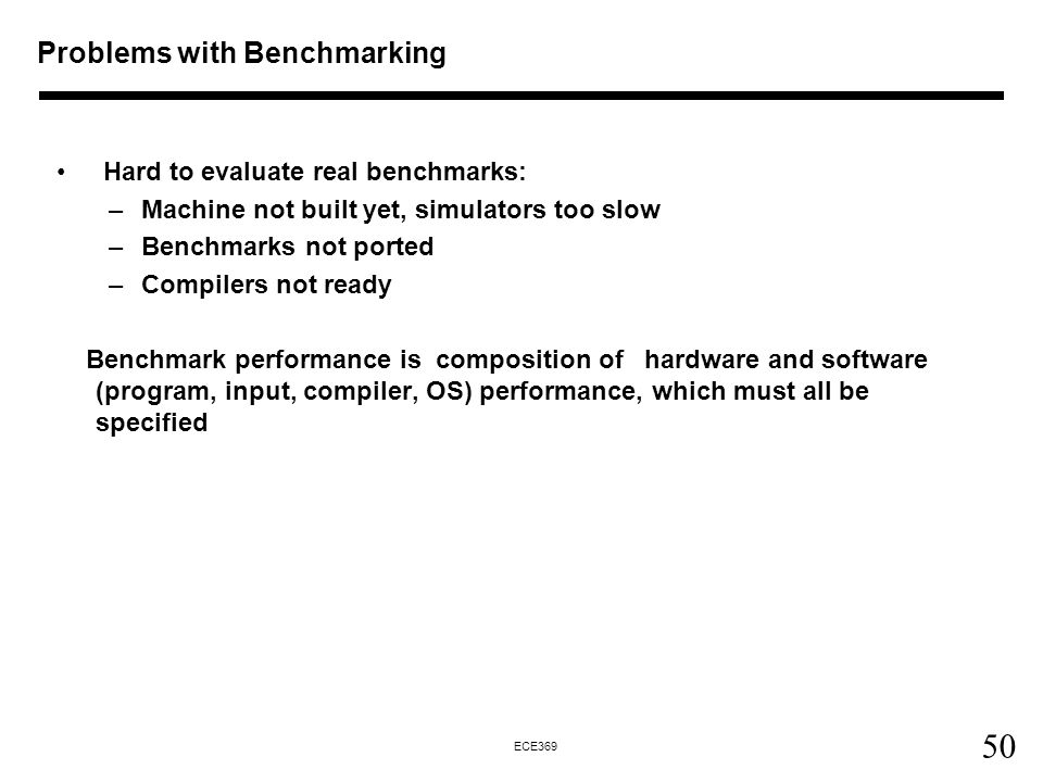 Problems with Benchmarking