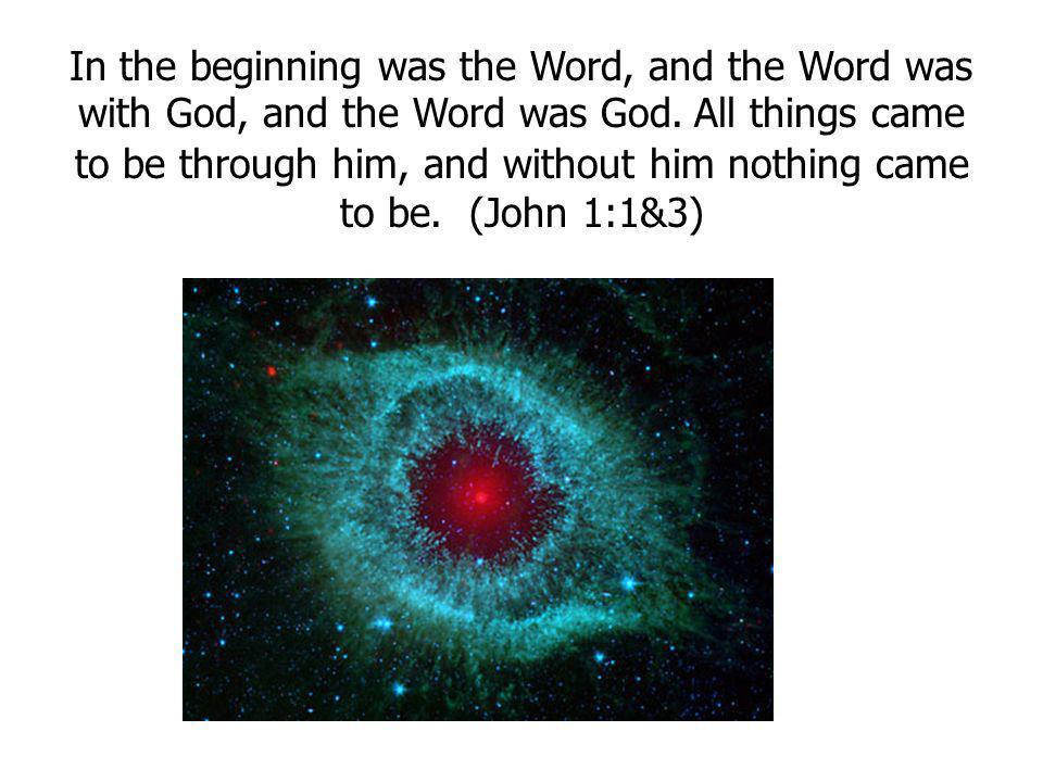 In the beginning was the Word, and the Word was with God, and the Word was God. All things came to be through him, and without him nothing came to be. (John 1:1&3)