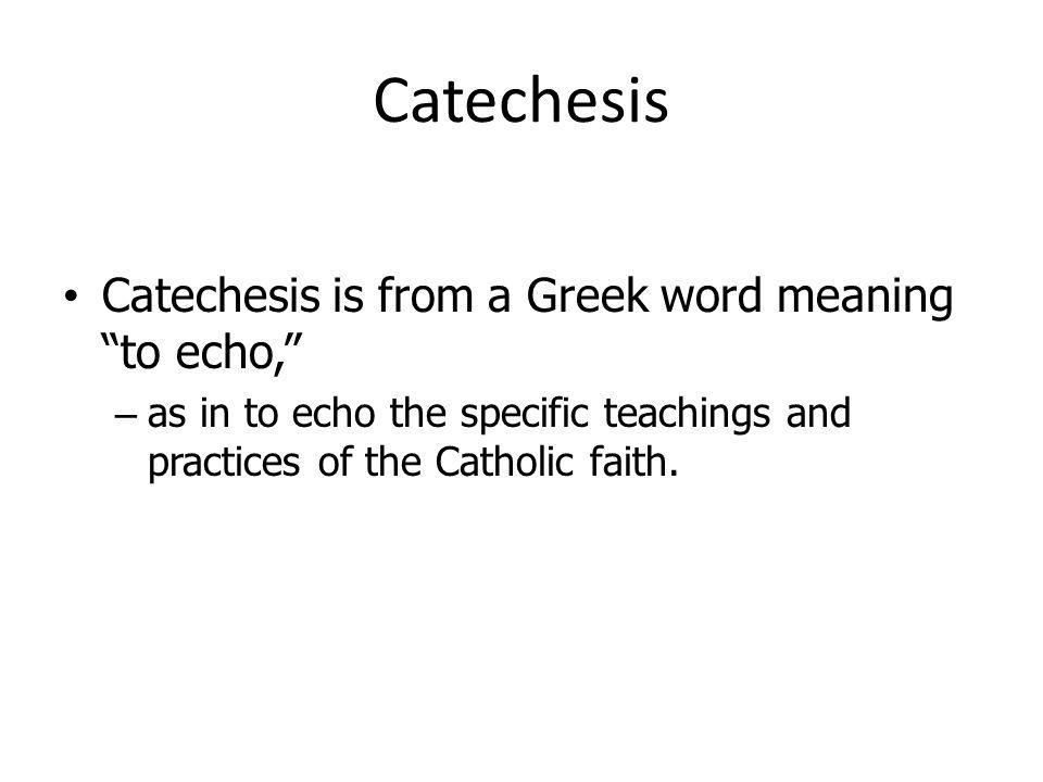Catechesis Catechesis is from a Greek word meaning to echo,
