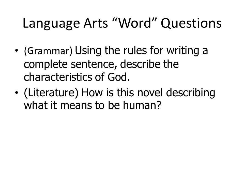 Language Arts Word Questions