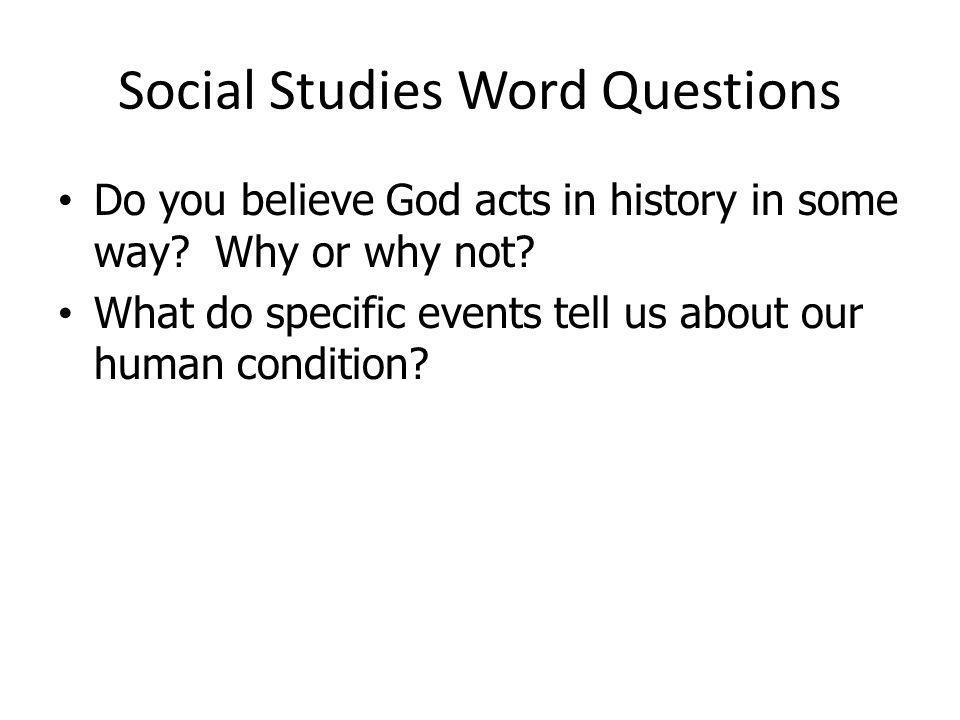 Social Studies Word Questions
