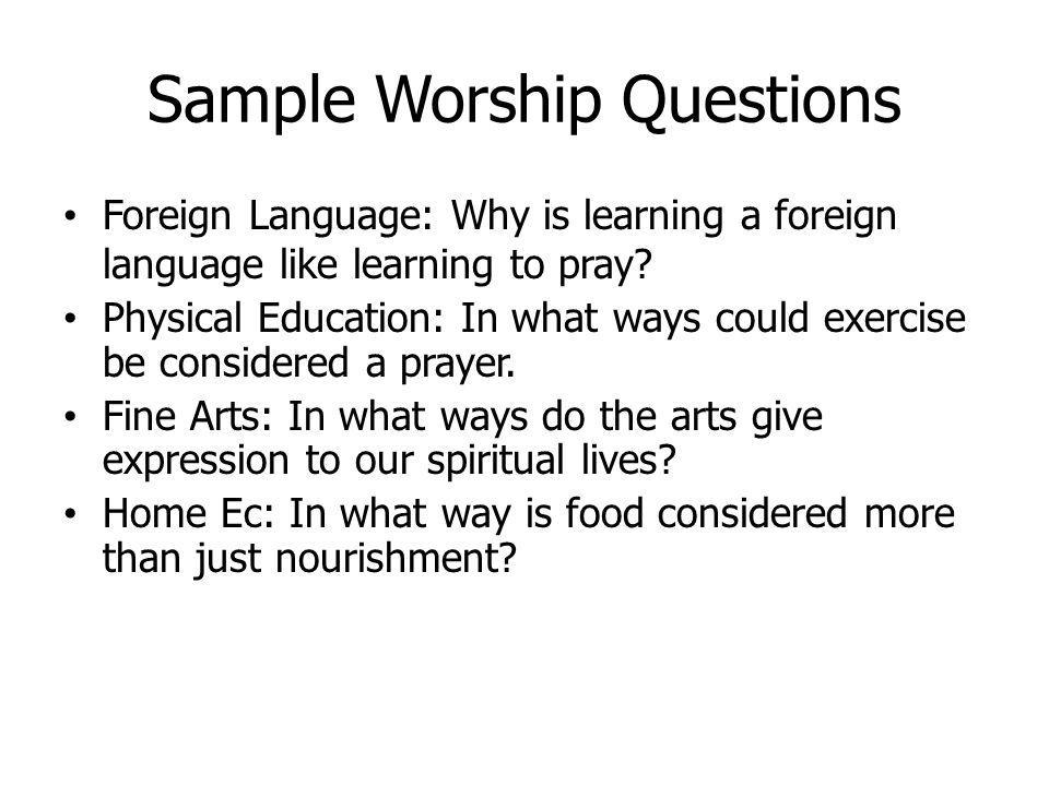 Sample Worship Questions