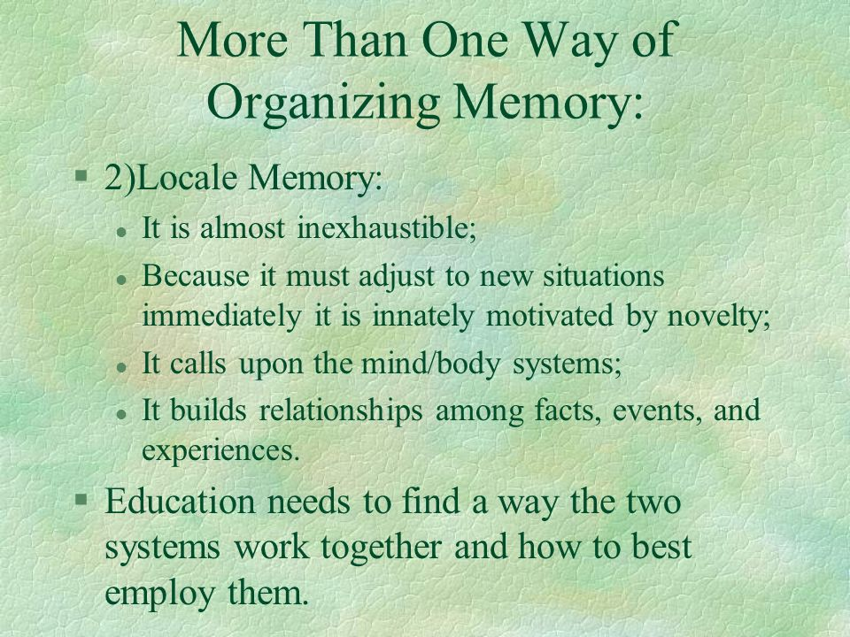 More Than One Way of Organizing Memory: