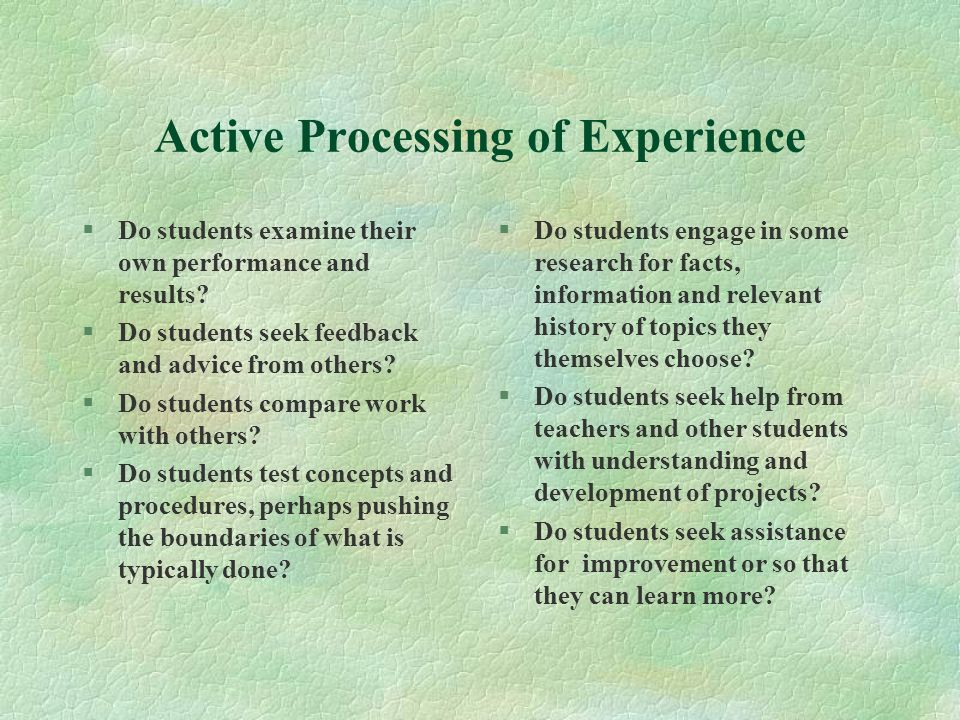 Active Processing of Experience