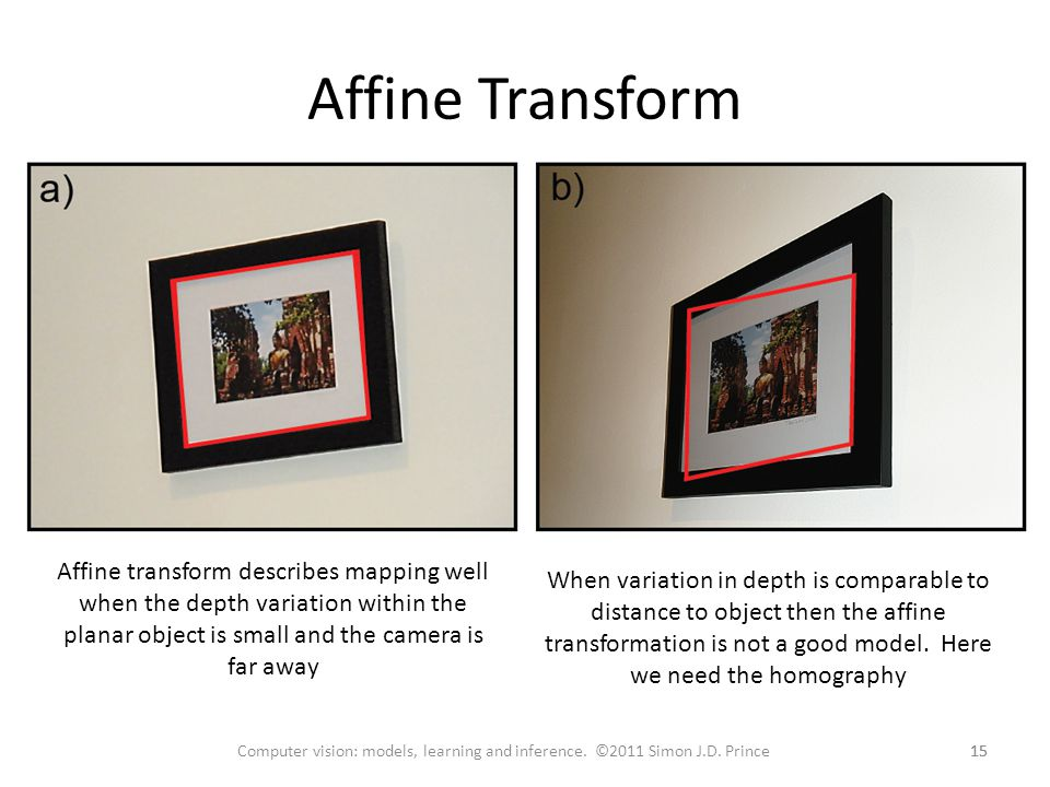 Affine Transform Affine transform describes mapping well when the depth variation within the planar object is small and the camera is far away.