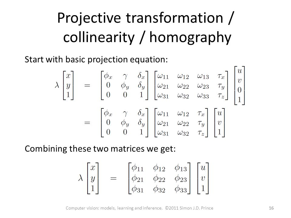 Projective transformation / collinearity / homography
