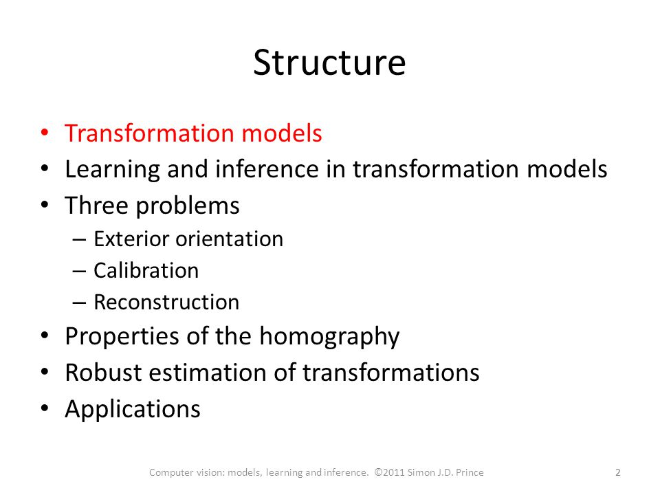 Structure Transformation models