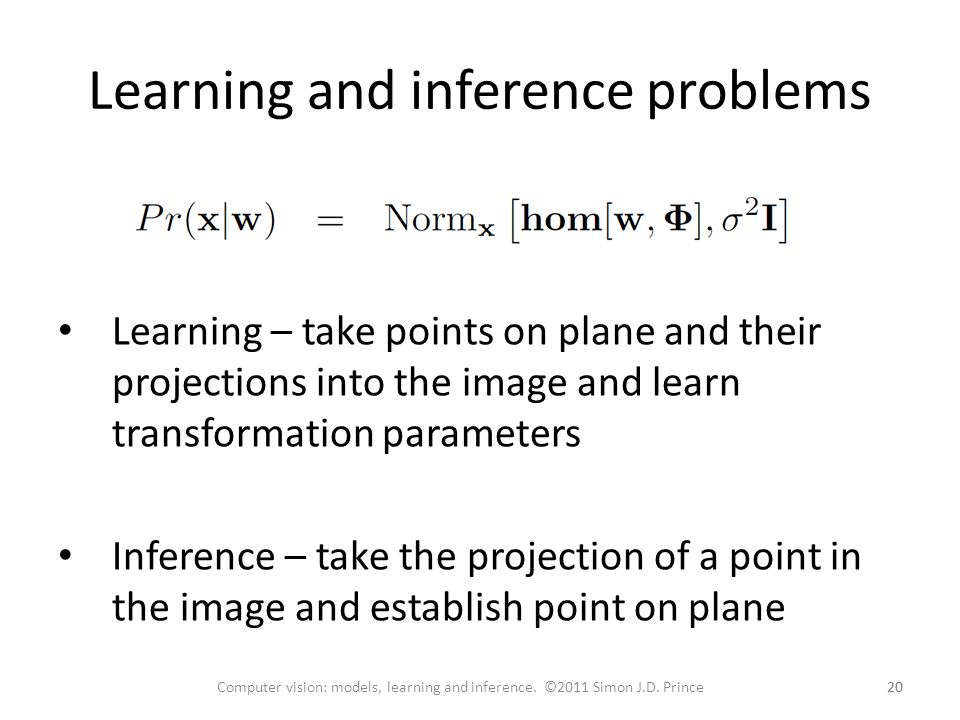 Learning and inference problems
