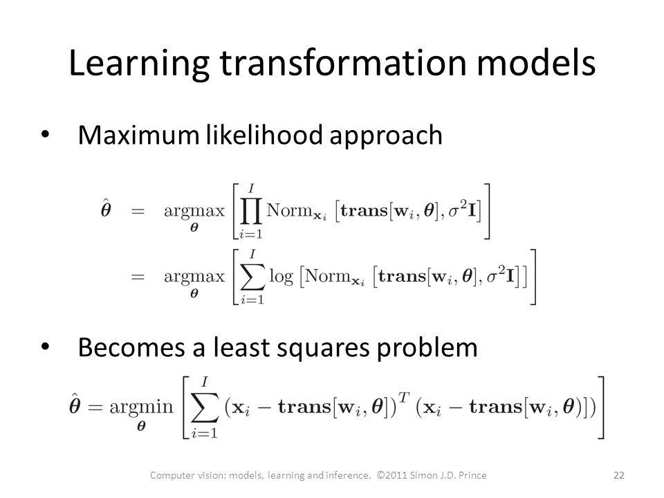 Learning transformation models