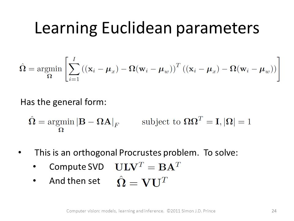 Learning Euclidean parameters