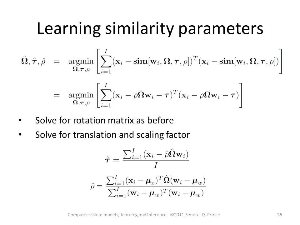 Learning similarity parameters