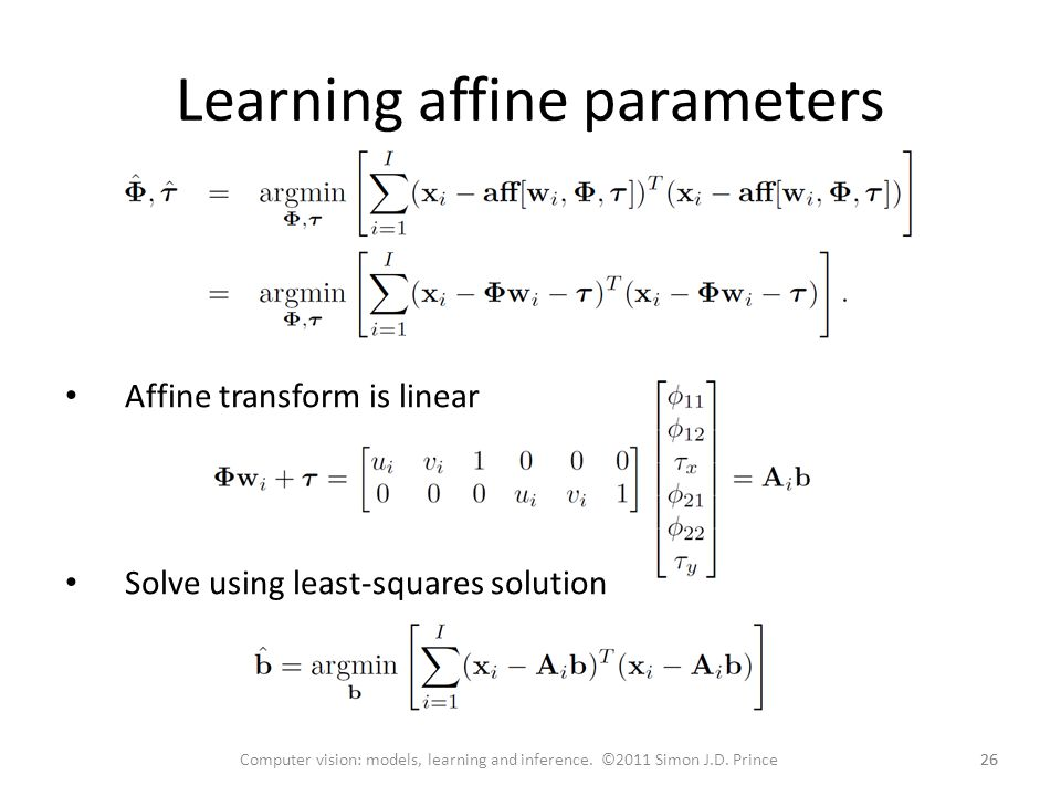 Learning affine parameters