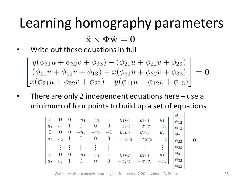 Learning homography parameters