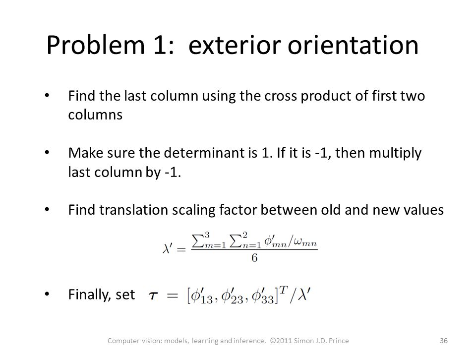 Problem 1: exterior orientation