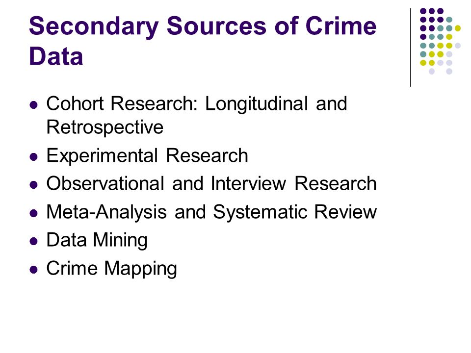 Secondary Sources of Crime Data