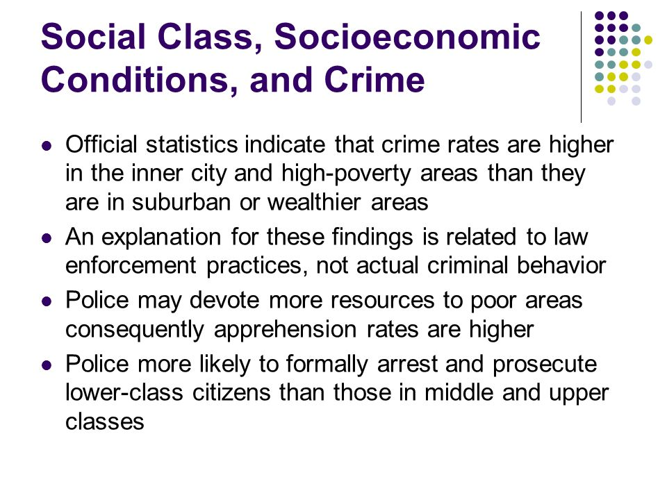 Social Class, Socioeconomic Conditions, and Crime