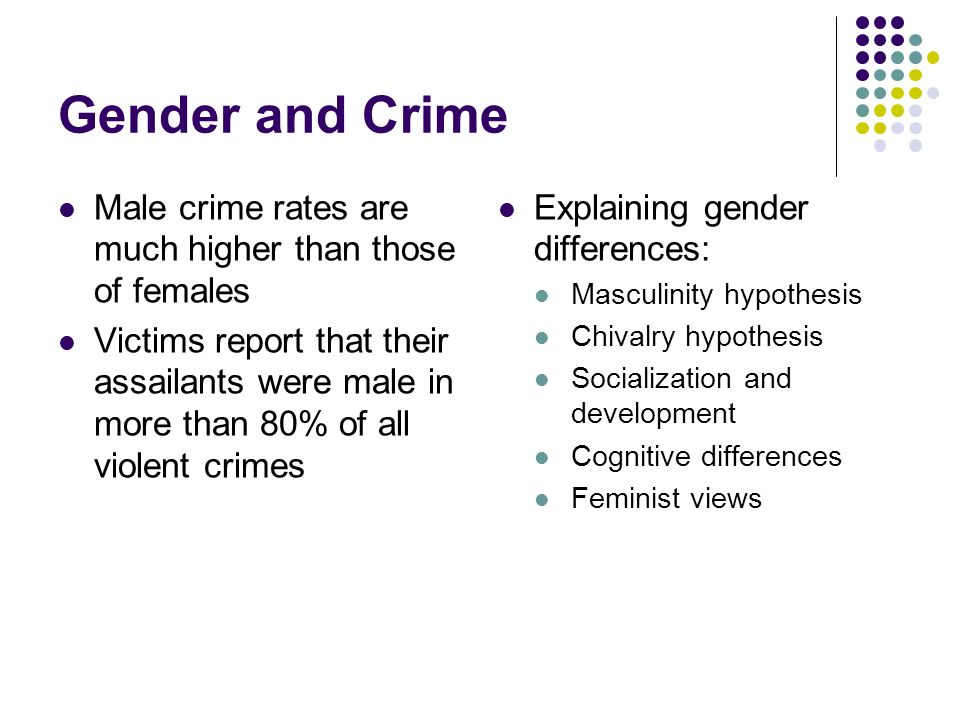 Gender and Crime Male crime rates are much higher than those of females.