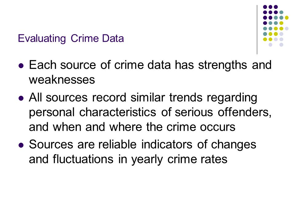 Each source of crime data has strengths and weaknesses