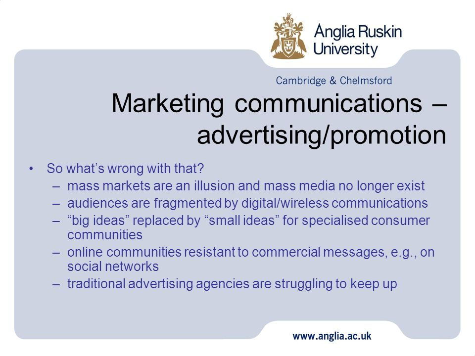 Marketing communications – advertising/promotion