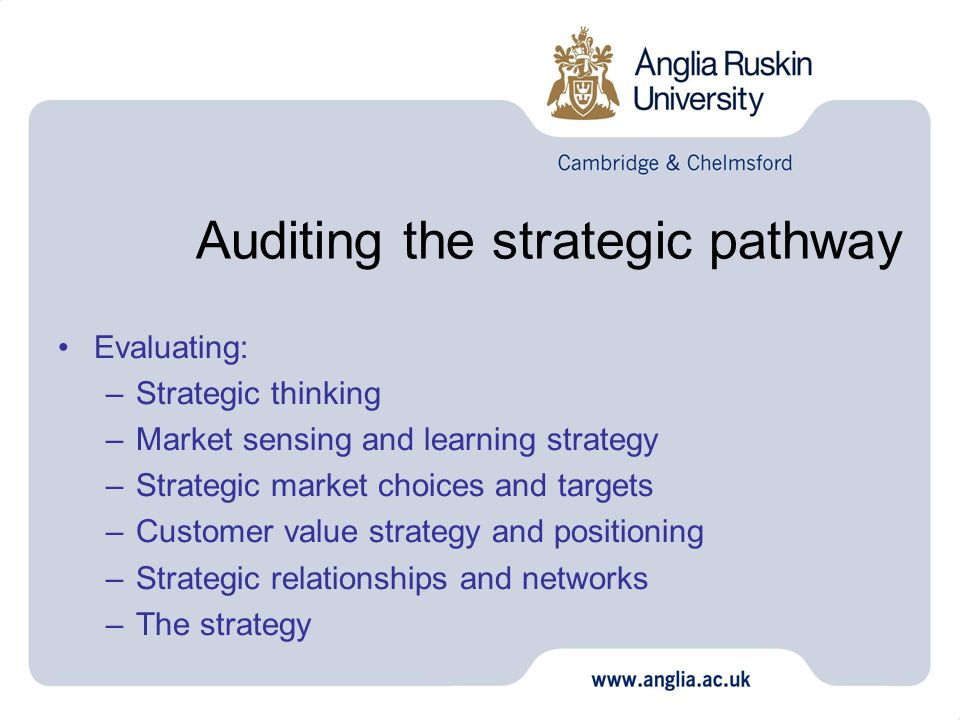 Auditing the strategic pathway