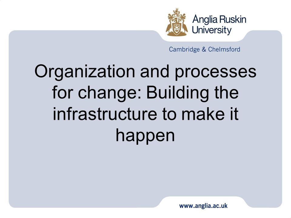Organization and processes for change: Building the infrastructure to make it happen