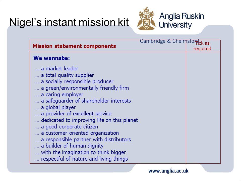 Nigel's instant mission kit