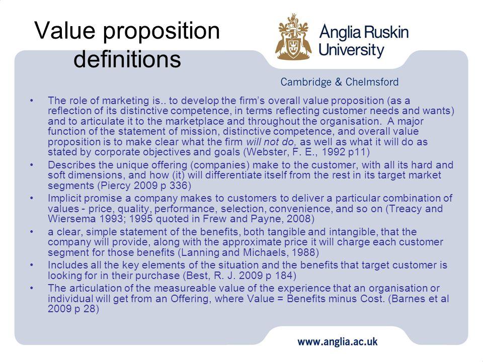 Value proposition definitions