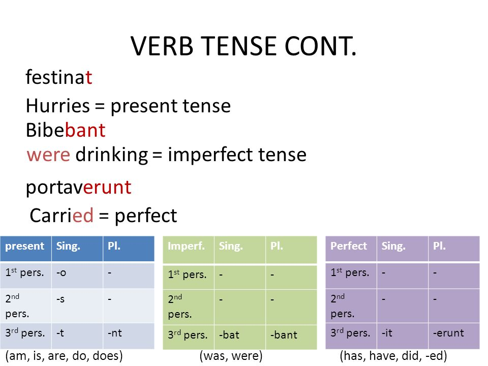 VERB TENSE CONT. festinat Hurries = present tense Bibebant