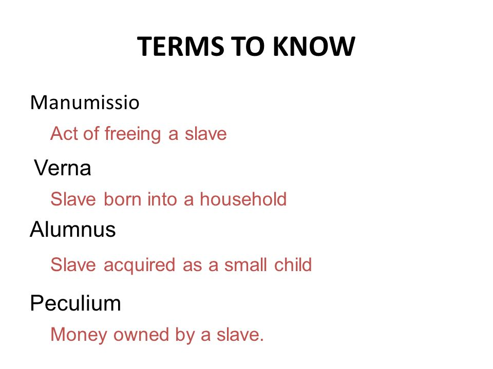 TERMS TO KNOW Manumissio Verna Alumnus Peculium Act of freeing a slave