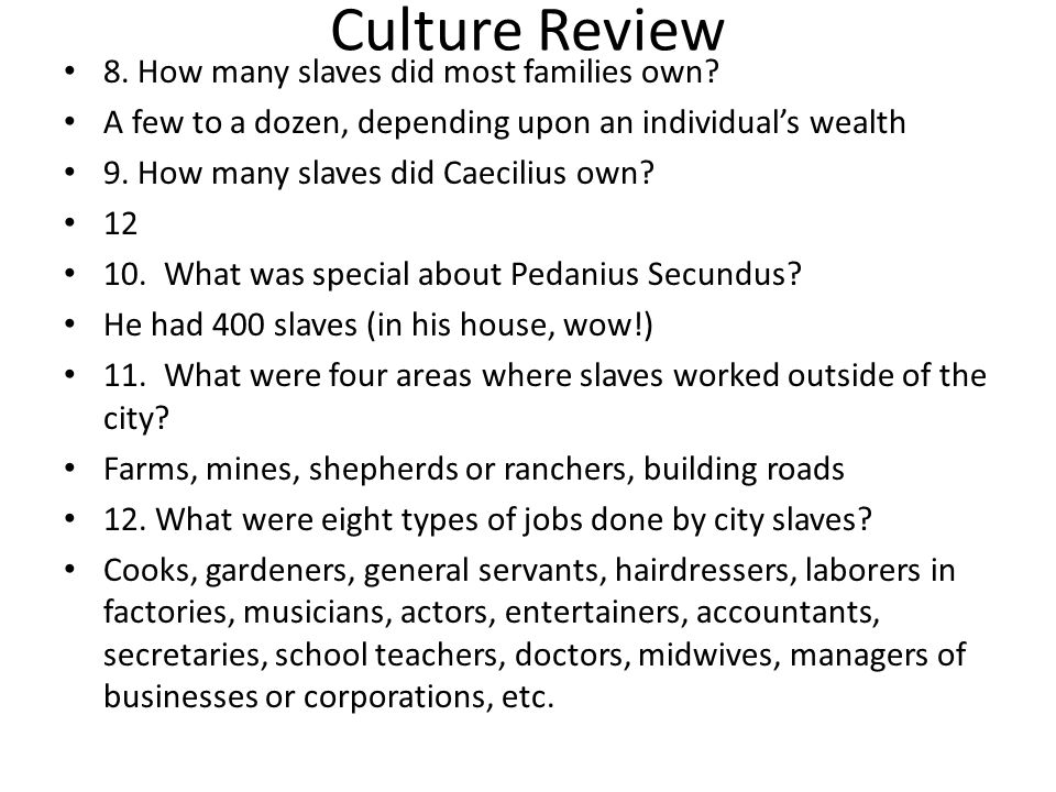 Culture Review 8. How many slaves did most families own
