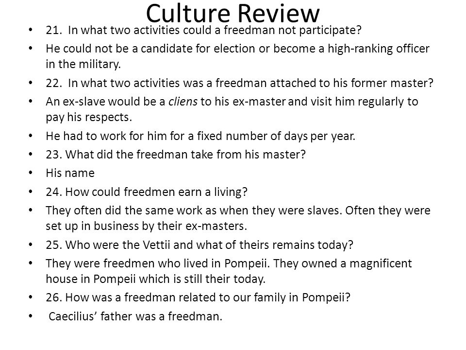 Culture Review 21. In what two activities could a freedman not participate