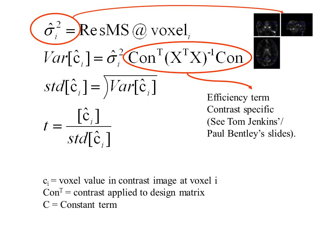 Efficiency term Contrast specific. (See Tom Jenkins'/ Paul Bentley's slides). ci = voxel value in contrast image at voxel i.