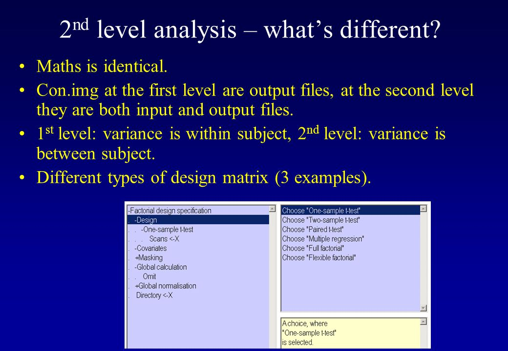2nd level analysis – what's different